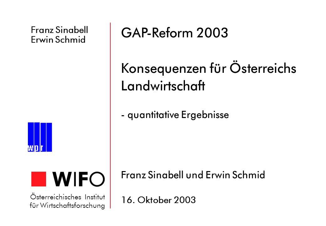 Franz Sinabell Erwin Schmid WIFOWIFO Österreichisches Institut für Wirtschaftsforschung GAP-Reform 2003 Konsequenzen für Österreichs Landwirtschaft -