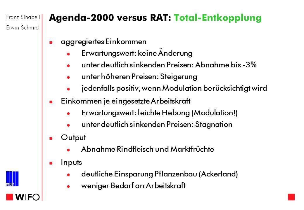 Franz Sinabell Erwin Schmid WIFOWIFO Agenda-2000 versus RAT: Total-Entkopplung aggregiertes Einkommen Erwartungswert: keine Änderung unter deutlich si