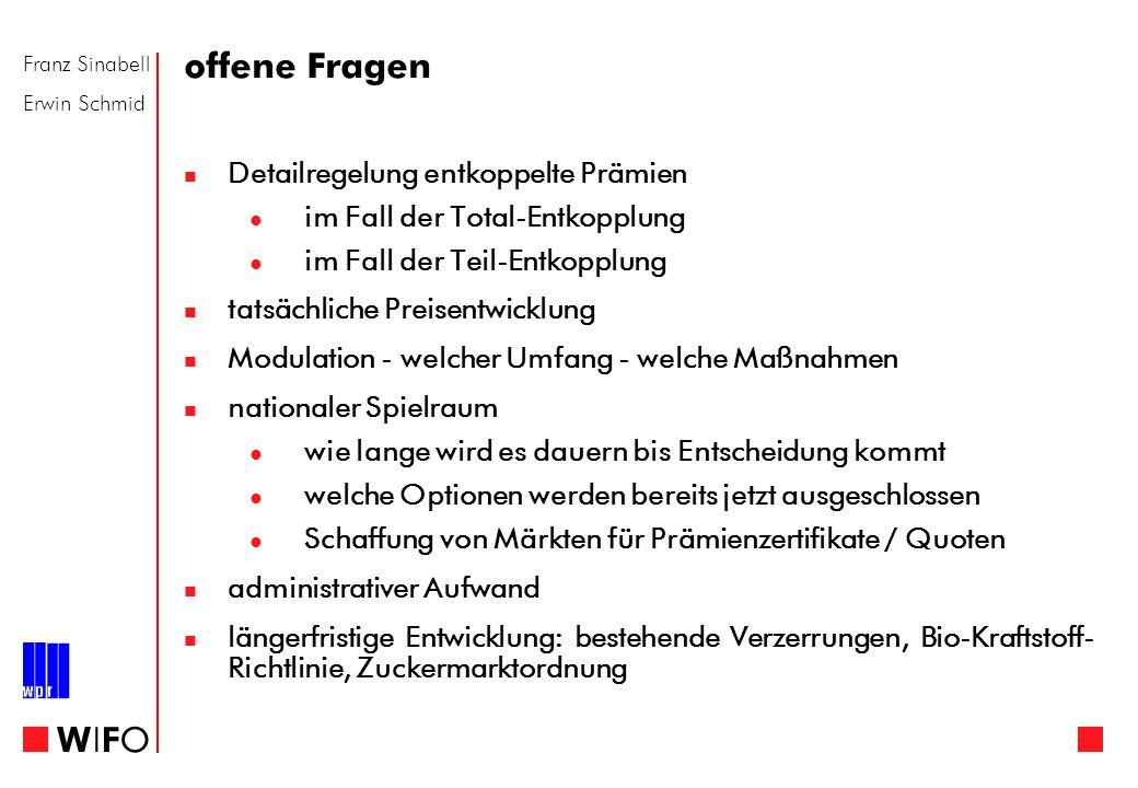 Franz Sinabell Erwin Schmid WIFOWIFO offene Fragen Detailregelung entkoppelte Prämien im Fall der Total-Entkopplung im Fall der Teil-Entkopplung tatsä