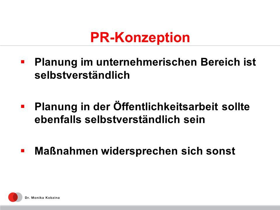 PR-Konzeption Planung im unternehmerischen Bereich ist selbstverständlich Planung in der Öffentlichkeitsarbeit sollte ebenfalls selbstverständlich sein Maßnahmen widersprechen sich sonst