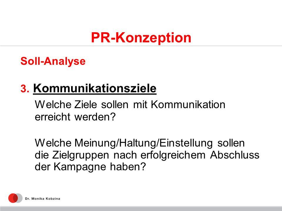 PR-Konzeption Soll-Analyse 3. Kommunikationsziele Welche Ziele sollen mit Kommunikation erreicht werden? Welche Meinung/Haltung/Einstellung sollen die