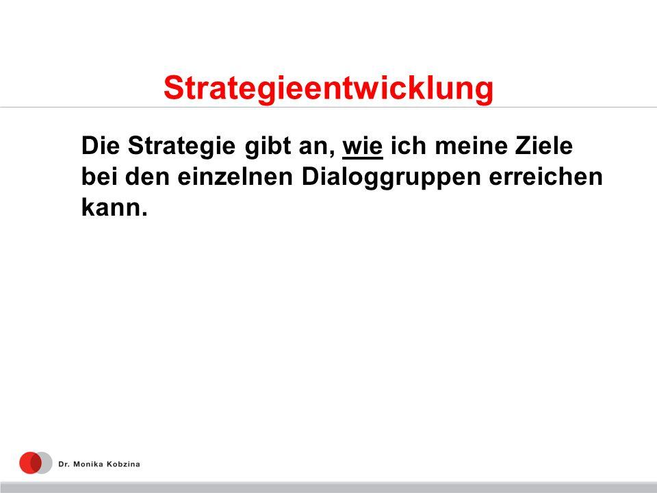 Strategieentwicklung Die Strategie gibt an, wie ich meine Ziele bei den einzelnen Dialoggruppen erreichen kann.