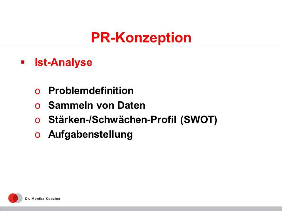 PR-Konzeption Ist-Analyse oProblemdefinition oSammeln von Daten oStärken-/Schwächen-Profil (SWOT) oAufgabenstellung