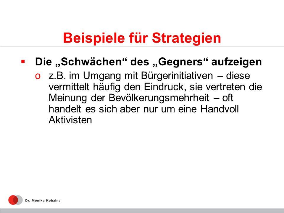 Beispiele für Strategien Die Schwächen des Gegners aufzeigen oz.B.