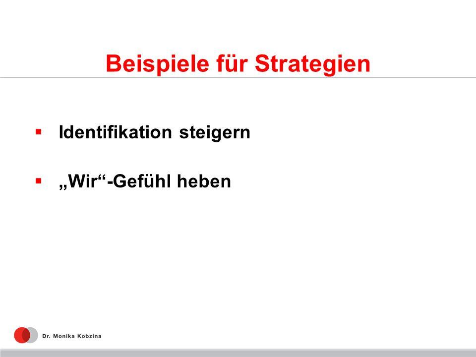 Beispiele für Strategien Identifikation steigern Wir-Gefühl heben