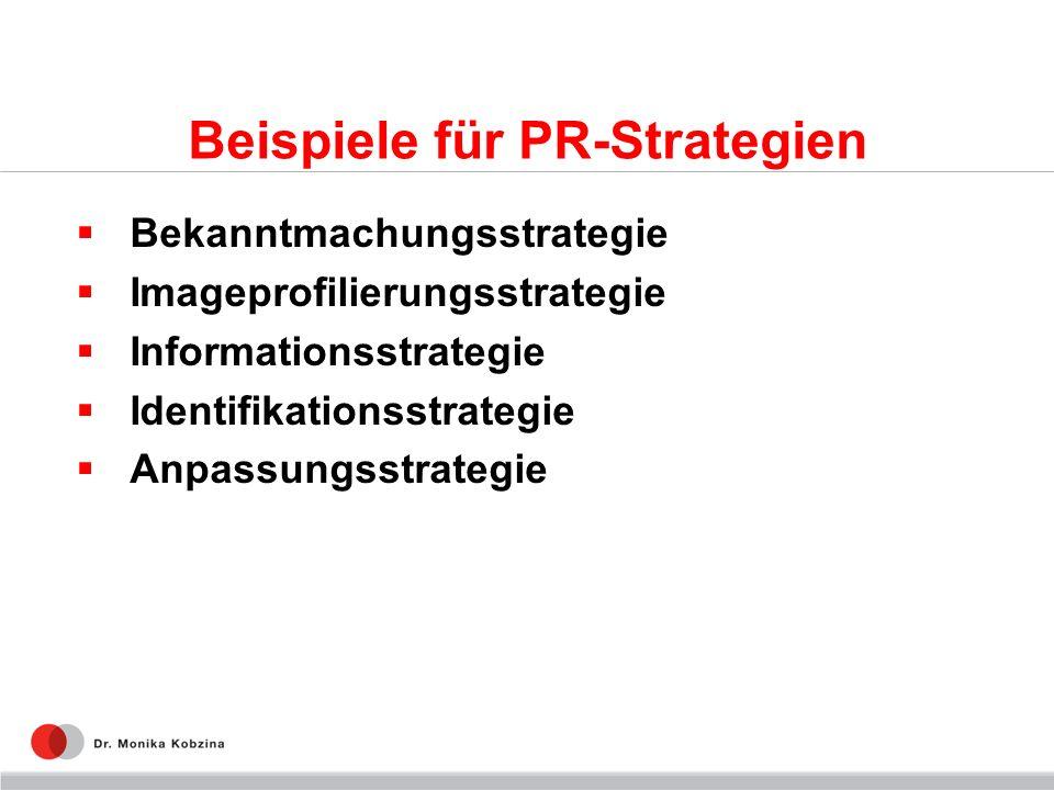 Beispiele für PR-Strategien Bekanntmachungsstrategie Imageprofilierungsstrategie Informationsstrategie Identifikationsstrategie Anpassungsstrategie