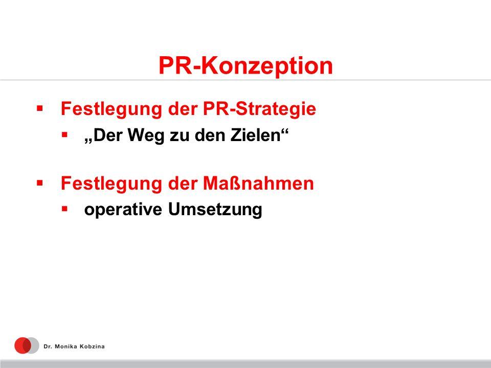 PR-Konzeption Festlegung der PR-Strategie Der Weg zu den Zielen Festlegung der Maßnahmen operative Umsetzung