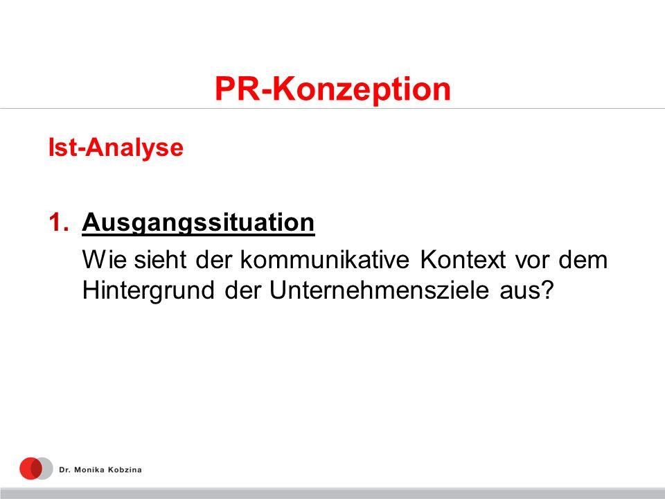 PR-Konzeption Ist-Analyse 1.Ausgangssituation Wie sieht der kommunikative Kontext vor dem Hintergrund der Unternehmensziele aus?