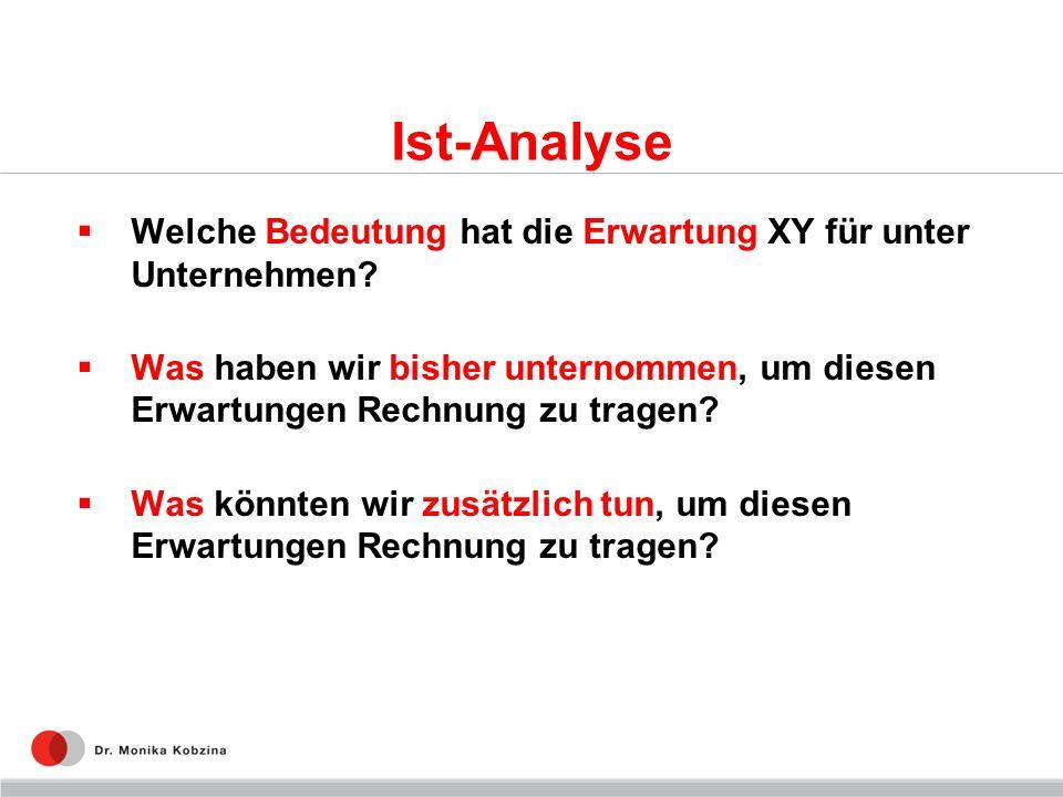 Ist-Analyse Welche Bedeutung hat die Erwartung XY für unter Unternehmen? Was haben wir bisher unternommen, um diesen Erwartungen Rechnung zu tragen? W