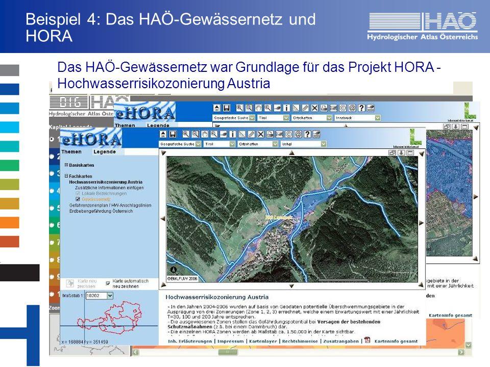 Beispiel 4: Das HAÖ-Gewässernetz und HORA Das HAÖ-Gewässernetz war Grundlage für das Projekt HORA - Hochwasserrisikozonierung Austria