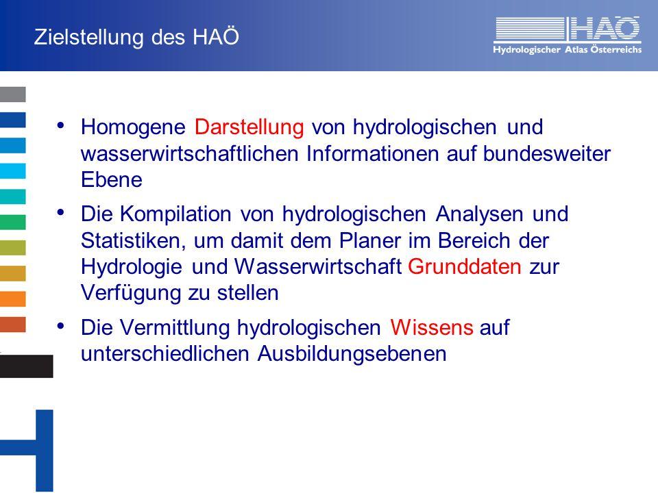 Zielstellung des HAÖ Homogene Darstellung von hydrologischen und wasserwirtschaftlichen Informationen auf bundesweiter Ebene Die Kompilation von hydrologischen Analysen und Statistiken, um damit dem Planer im Bereich der Hydrologie und Wasserwirtschaft Grunddaten zur Verfügung zu stellen Die Vermittlung hydrologischen Wissens auf unterschiedlichen Ausbildungsebenen