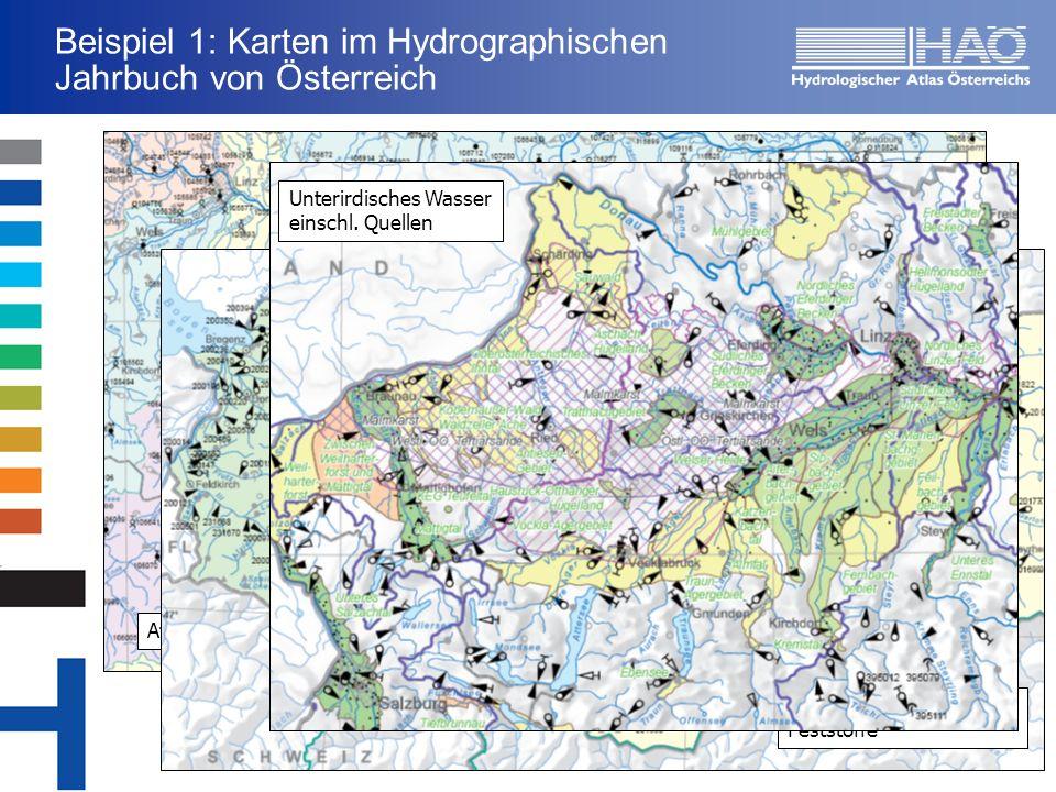 Atmosphärischer Bereich Beispiel 1: Karten im Hydrographischen Jahrbuch von Österreich Oberflächenwasser u.