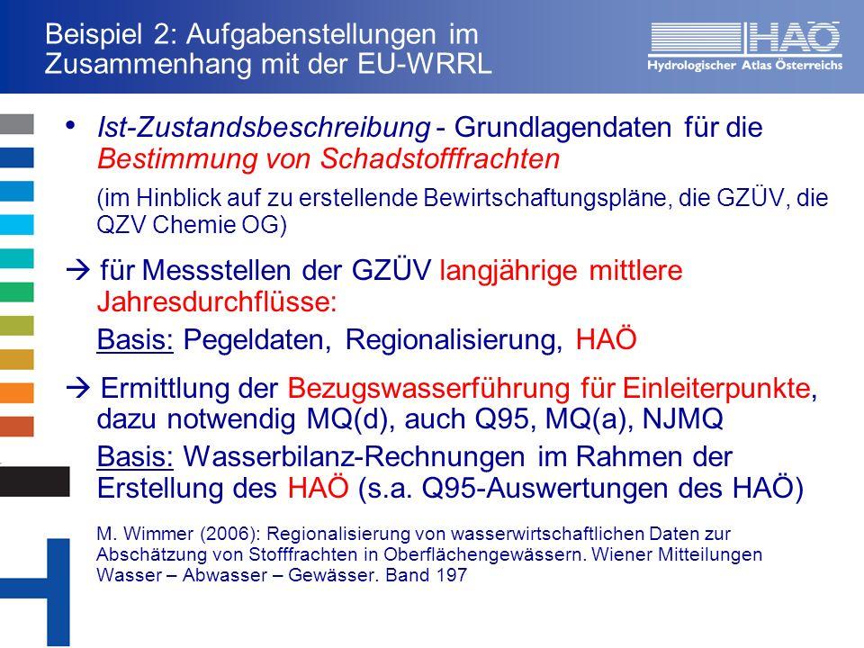 Beispiel 2: Aufgabenstellungen im Zusammenhang mit der EU-WRRL Ist-Zustandsbeschreibung - Grundlagendaten für die Bestimmung von Schadstofffrachten (im Hinblick auf zu erstellende Bewirtschaftungspläne, die GZÜV, die QZV Chemie OG) für Messstellen der GZÜV langjährige mittlere Jahresdurchflüsse: Basis: Pegeldaten, Regionalisierung, HAÖ Ermittlung der Bezugswasserführung für Einleiterpunkte, dazu notwendig MQ(d), auch Q95, MQ(a), NJMQ Basis: Wasserbilanz-Rechnungen im Rahmen der Erstellung des HAÖ (s.a.
