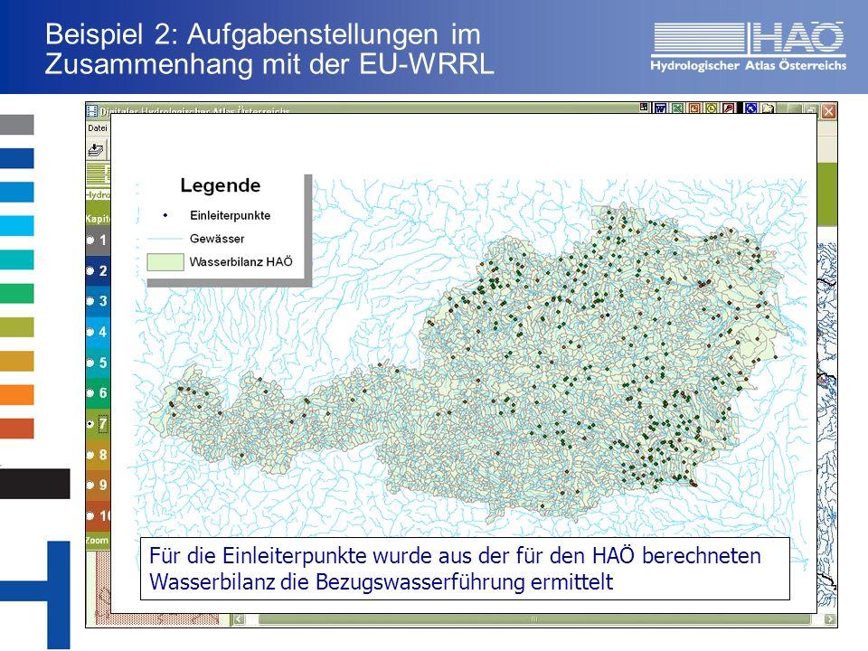 Beispiel 2: Aufgabenstellungen im Zusammenhang mit der EU-WRRL Für die Einleiterpunkte wurde aus der für den HAÖ berechneten Wasserbilanz die Bezugswasserführung ermittelt