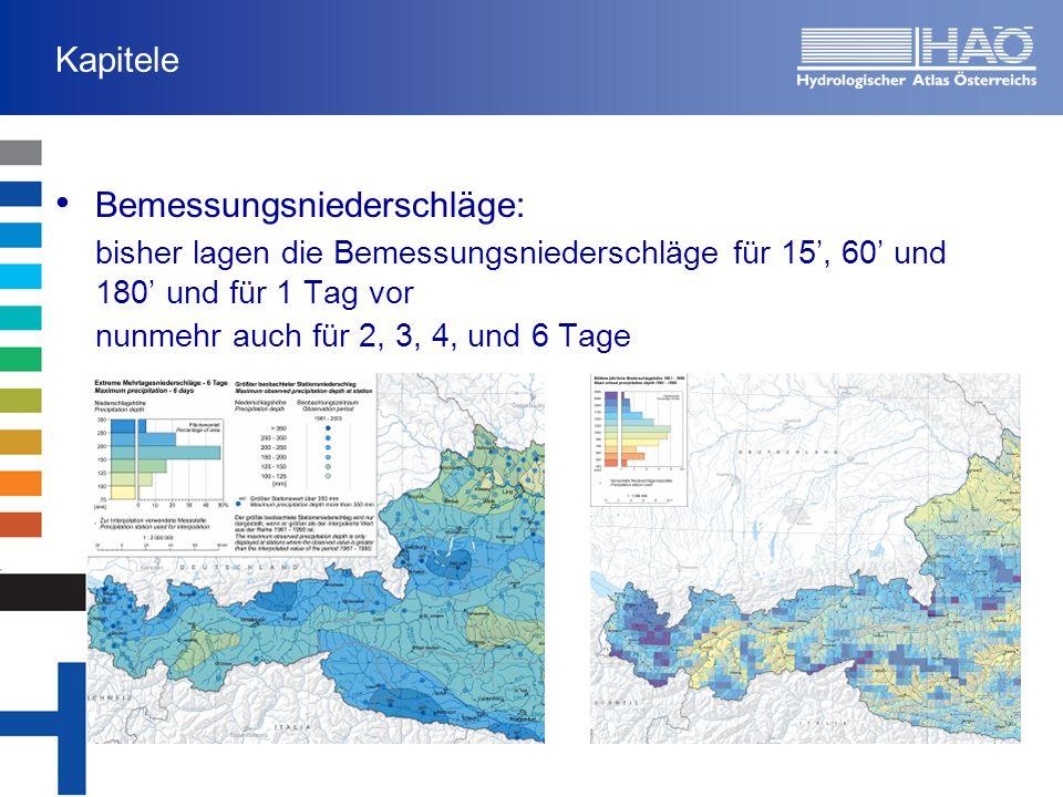 Kapitel: Niederschläge Bemessungsniederschläge Trends in den Niederschlägen