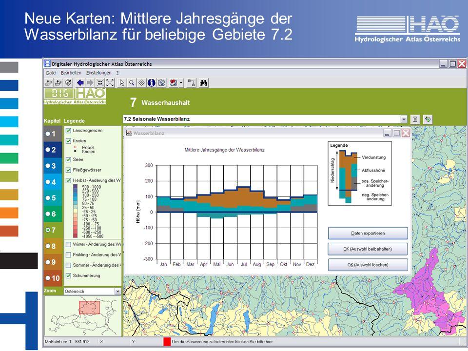 Neue Karten: Mittlere Jahresgänge der Wasserbilanz für beliebige Gebiete 7.2
