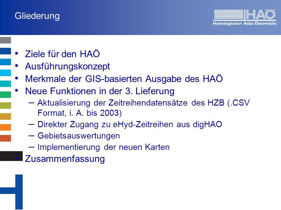 Zusammenfassung Der Hydrologische Atlas Österreichs ist ein duales kartographisches Werk, bestehend aus einer gedruckten und einer digitalen, GIS-basierten Ausgabe Benutzerfreundlicher Zugang zu den Inhalten des HAÖ und damit verknüpften Informationen Der wichtigste Aspekt ist die Bereitstellung der Daten in einem Format, das den Anwendern die direkte Verwendung in regionalhydrologischen Untersuchungen ermöglicht Die 3.