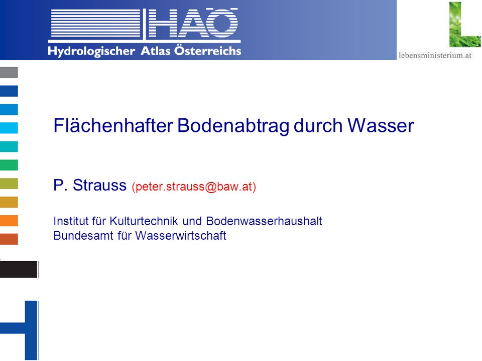 Copyright, 2002 © Josef Fürst Flächenhafter Bodenabtrag durch Wasser P. Strauss (peter.strauss@baw.at) Institut für Kulturtechnik und Bodenwasserhaush