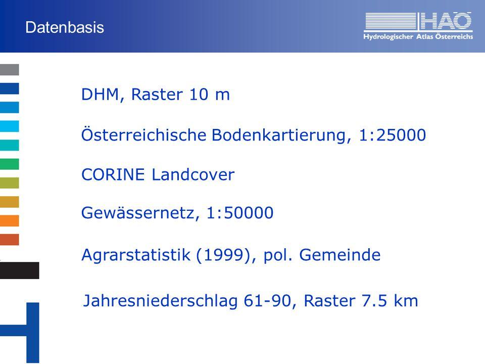 Datenbasis DHM, Raster 10 m Österreichische Bodenkartierung, 1:25000 CORINE Landcover Agrarstatistik (1999), pol. Gemeinde Jahresniederschlag 61-90, R