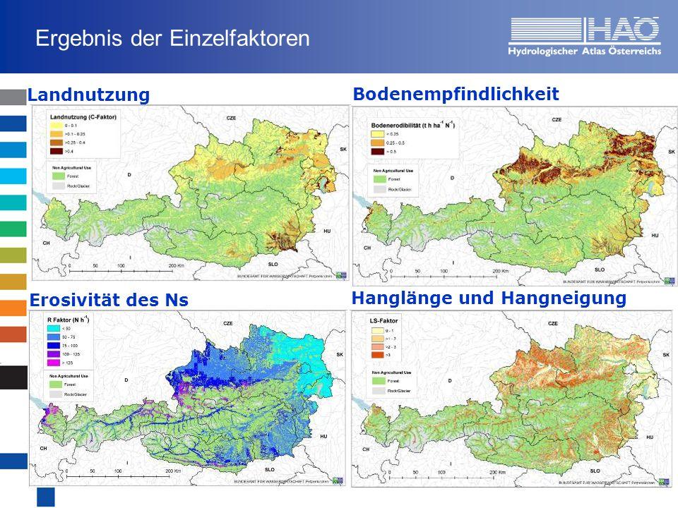 Ergebnis der Einzelfaktoren Landnutzung Bodenempfindlichkeit Hanglänge und Hangneigung Erosivität des Ns