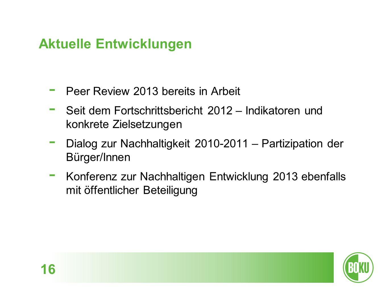 Aktuelle Entwicklungen 16 - Peer Review 2013 bereits in Arbeit - Seit dem Fortschrittsbericht 2012 – Indikatoren und konkrete Zielsetzungen - Dialog z