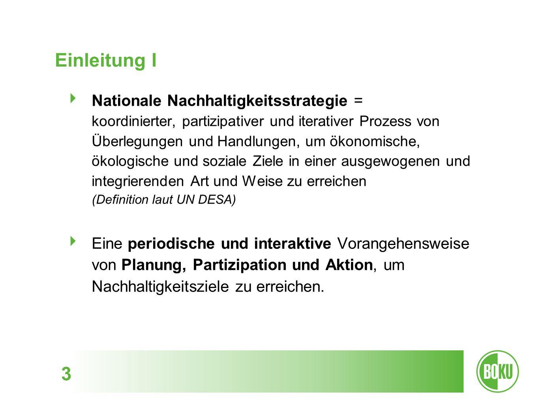 4 Einleitung II Nachhaltigkeitsstrategie in Deutschland 2002: Erstellung und Veröffentlichung der Strategie im Rahmen des Weltgipfel für nachhaltige Entwicklung in Johannesburg Hintergrund 1990er: Fokus ausschließlich auf Umweltfragen 1998: Umstrukturierung und Neustart 2000: Entscheidung zur Einrichtung des Rates für Nachhaltige Entwicklung und Ausschuss für nachhaltige Entwicklung
