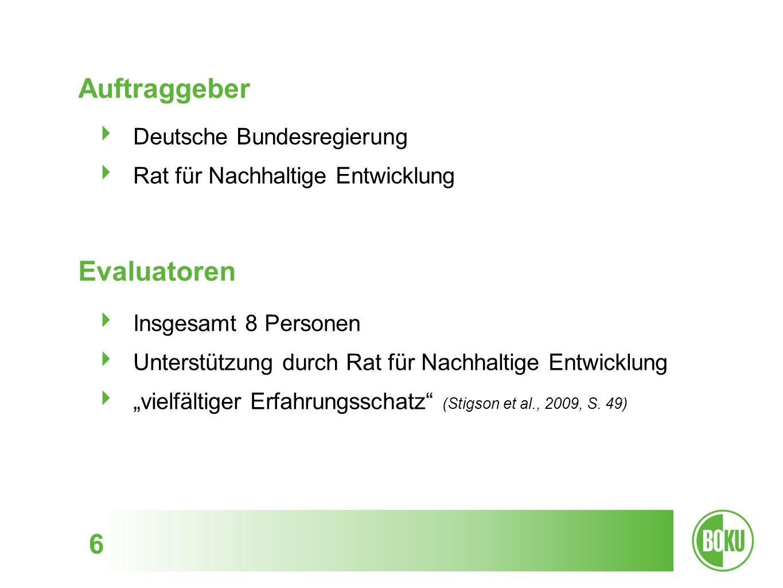 Motivation 7 Evaluation als gute Praxis von Nachhaltigkeitsstrategien Verankerung »regelmäßiger Erfolgskontrolle« auch in der deutschen Nachhaltigkeitsstrategie: Nachhaltigkeitsstrategie 2002 Fortschrittsbericht 2004 Wegweiser Nachhaltigkeit 2005 Indikatorenbericht alle zwei Jahre seit 2006 Fortschrittsbericht 2008 Peer Review 2009 Fortschrittsbericht 2012 Peer Review 2013