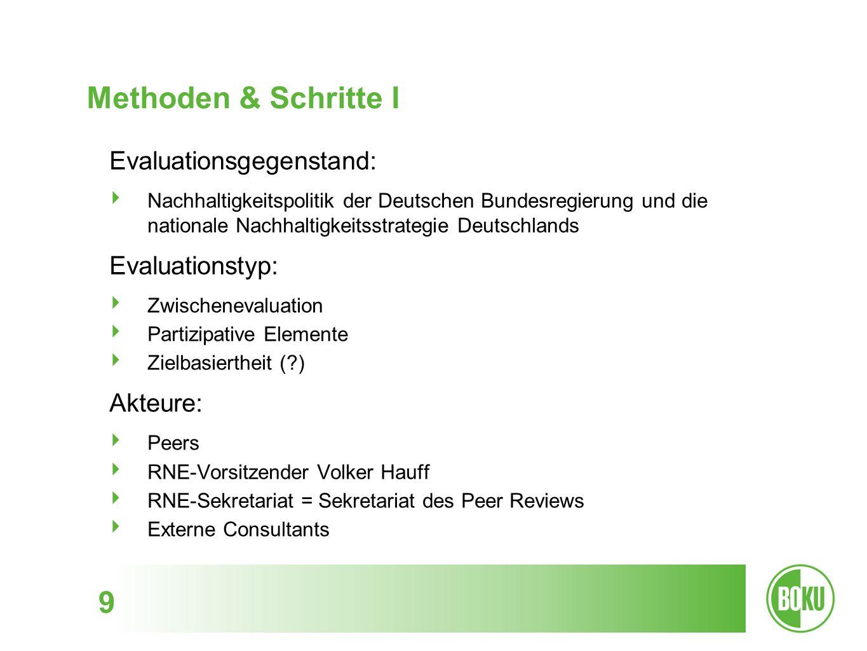 Methoden & Schritte I 9 Evaluationsgegenstand: Nachhaltigkeitspolitik der Deutschen Bundesregierung und die nationale Nachhaltigkeitsstrategie Deutsch