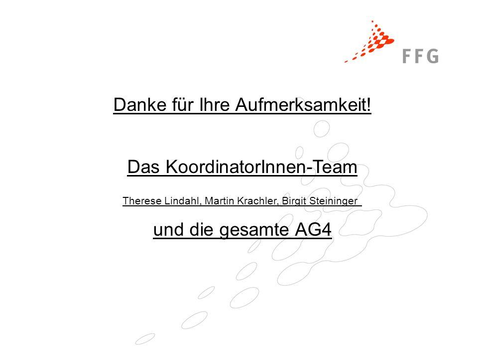 Danke für Ihre Aufmerksamkeit! Das KoordinatorInnen-Team Therese Lindahl, Martin Krachler, Birgit Steininger und die gesamte AG4