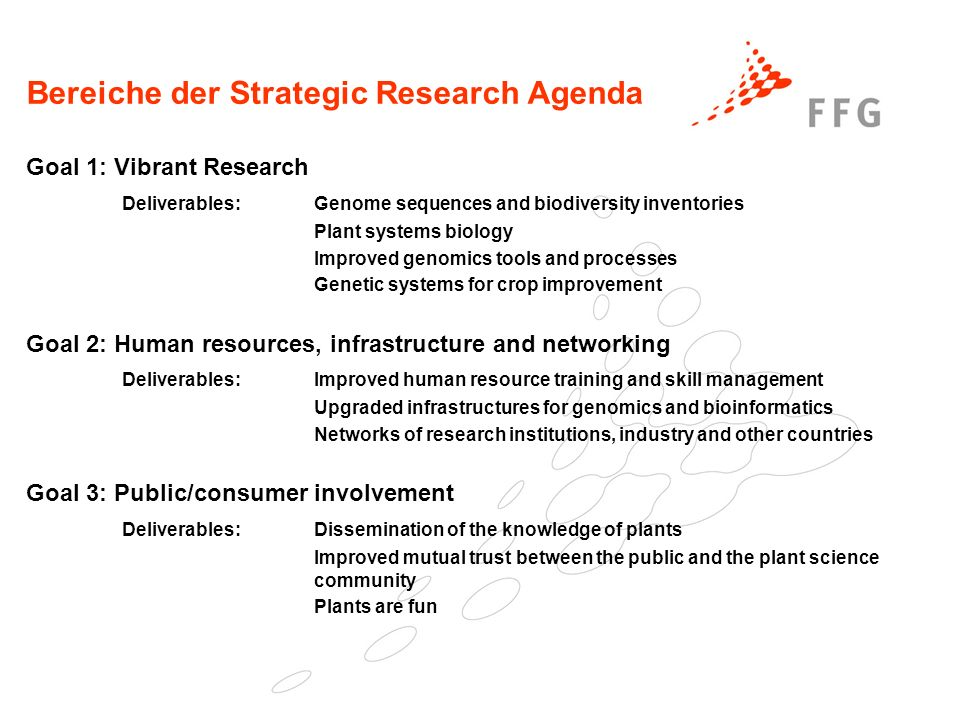 Bereiche der Strategic Research Agenda Goal 1: Vibrant Research Deliverables: Genome sequences and biodiversity inventories Plant systems biology Improved genomics tools and processes Genetic systems for crop improvement Goal 2: Human resources, infrastructure and networking Deliverables: Improved human resource training and skill management Upgraded infrastructures for genomics and bioinformatics Networks of research institutions, industry and other countries Goal 3: Public/consumer involvement Deliverables: Dissemination of the knowledge of plants Improved mutual trust between the public and the plant science community Plants are fun
