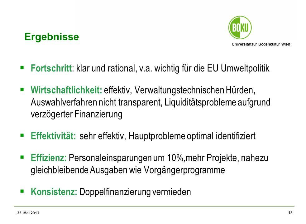 Universität für Bodenkultur Wien Wissenschaftliche Assessments im Ressourcenamangement – WS 2012 Ergebnisse Fortschritt : klar und rational, v.a. wich