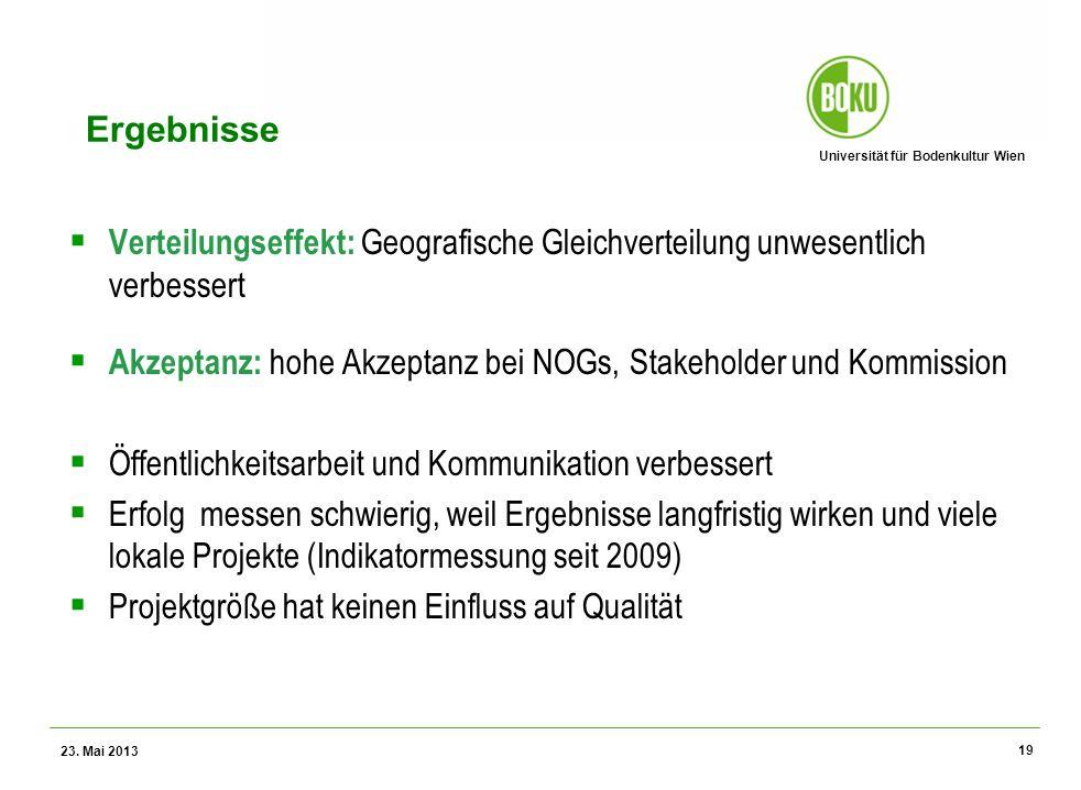 Universität für Bodenkultur Wien Wissenschaftliche Assessments im Ressourcenamangement – WS 2012 Ergebnisse Verteilungseffekt: Geografische Gleichvert