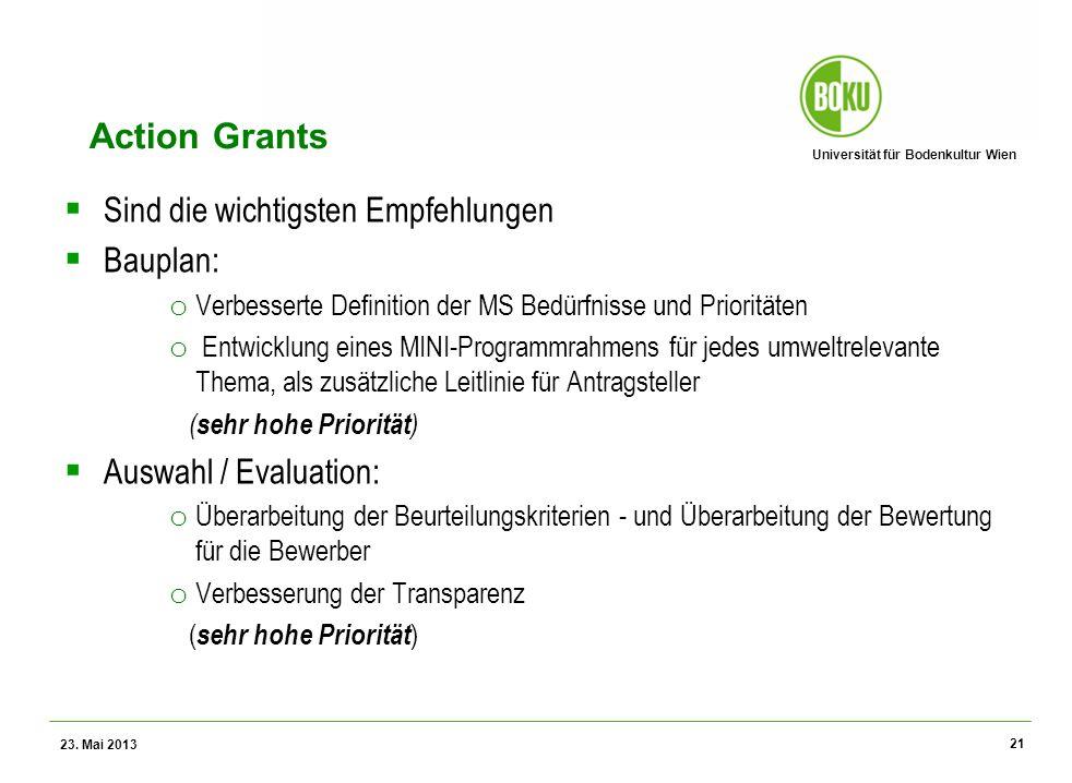 Universität für Bodenkultur Wien Wissenschaftliche Assessments im Ressourcenamangement – WS 2012 Action Grants Sind die wichtigsten Empfehlungen Baupl