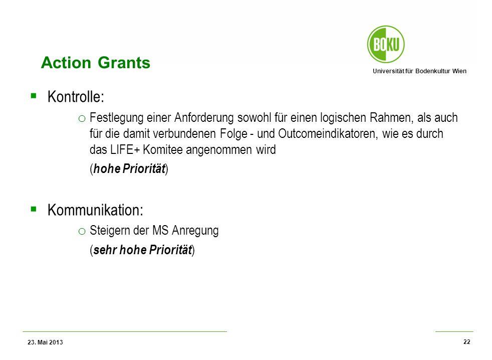 Universität für Bodenkultur Wien Wissenschaftliche Assessments im Ressourcenamangement – WS 2012 Action Grants Kontrolle: o Festlegung einer Anforderu