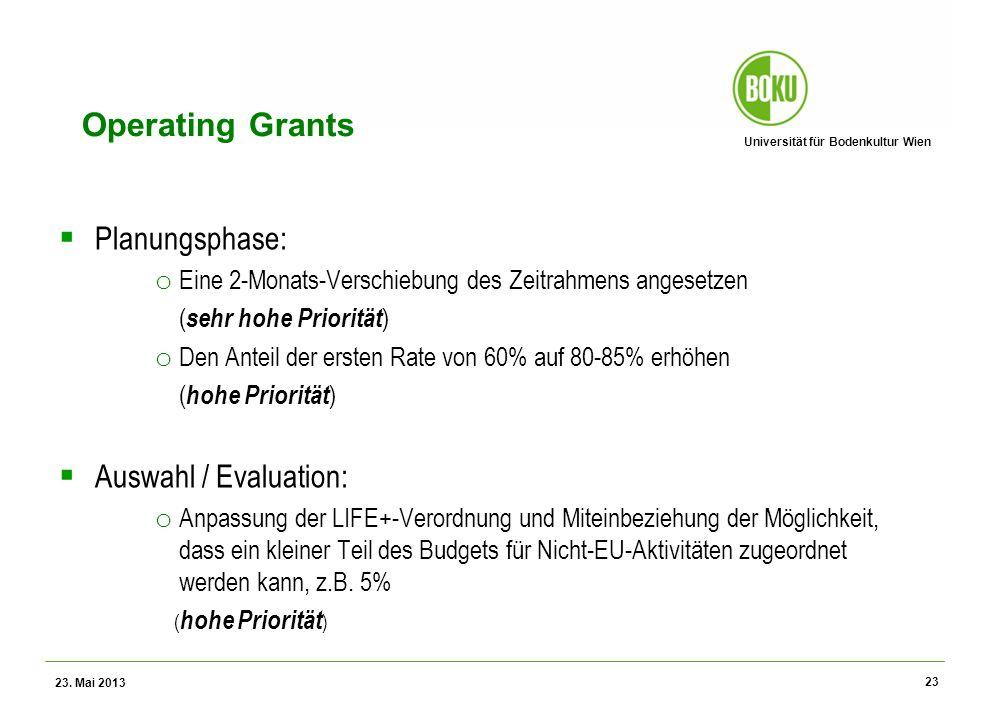 Universität für Bodenkultur Wien Wissenschaftliche Assessments im Ressourcenamangement – WS 2012 Operating Grants Planungsphase: o Eine 2-Monats-Versc