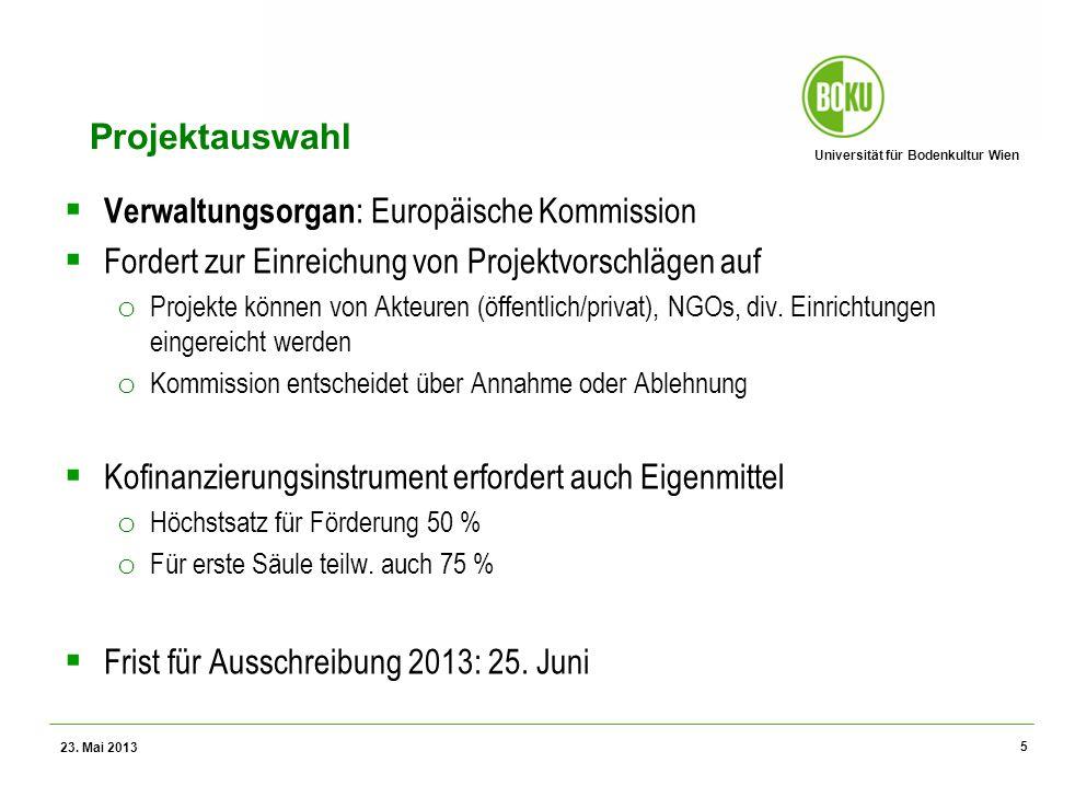 Universität für Bodenkultur Wien Wissenschaftliche Assessments im Ressourcenamangement – WS 2012 Projektauswahl Verwaltungsorgan : Europäische Kommiss