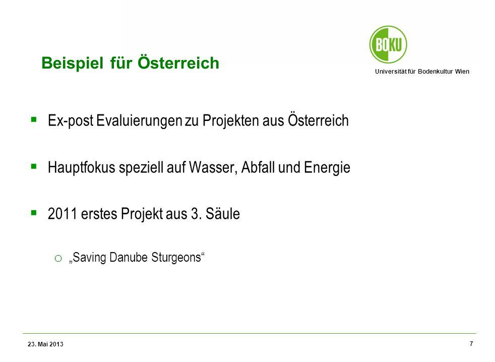 Universität für Bodenkultur Wien Wissenschaftliche Assessments im Ressourcenamangement – WS 2012 Beispiel für Österreich Ex-post Evaluierungen zu Projekten aus Österreich Hauptfokus speziell auf Wasser, Abfall und Energie 2011 erstes Projekt aus 3.