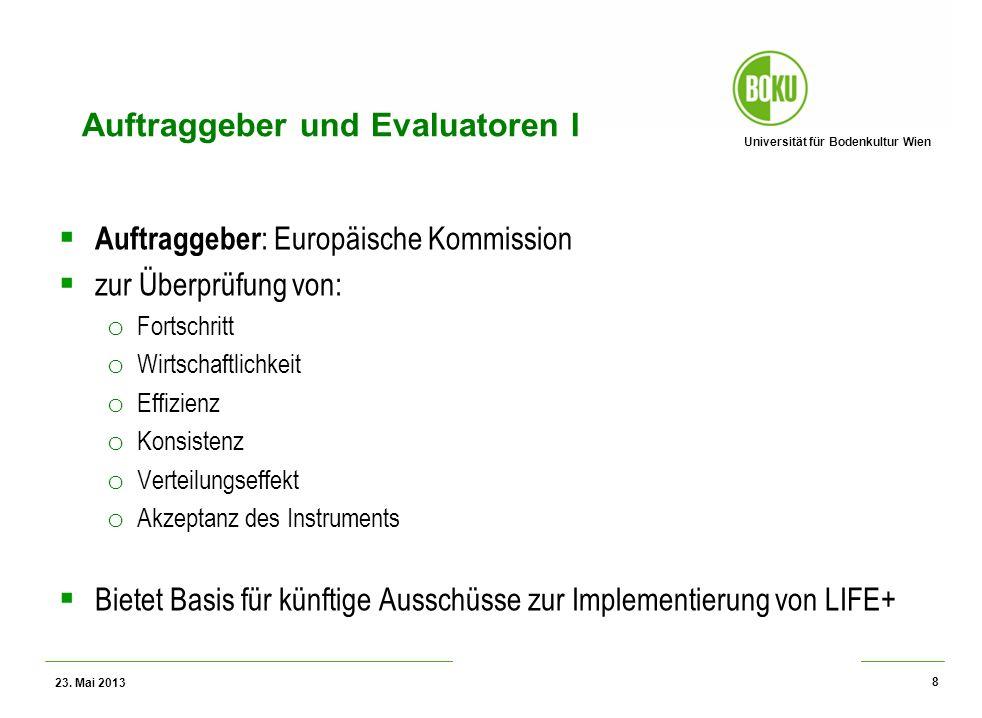 Universität für Bodenkultur Wien Wissenschaftliche Assessments im Ressourcenamangement – WS 2012 Auftraggeber und Evaluatoren I Auftraggeber : Europäi