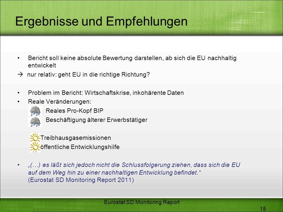 Ergebnisse und Empfehlungen Bericht soll keine absolute Bewertung darstellen, ab sich die EU nachhaltig entwickelt nur relativ: geht EU in die richtig