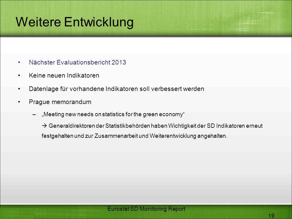 Weitere Entwicklung Nächster Evaluationsbericht 2013 Keine neuen Indikatoren Datenlage für vorhandene Indikatoren soll verbessert werden Prague memora
