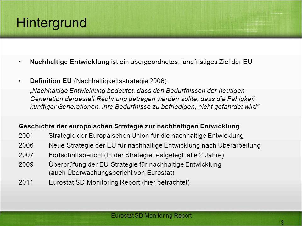 Hintergrund Nachhaltige Entwicklung ist ein übergeordnetes, langfristiges Ziel der EU Definition EU (Nachhaltigkeitsstrategie 2006): Nachhaltige Entwi