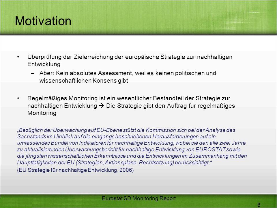 Motivation Überprüfung der Zielerreichung der europäische Strategie zur nachhaltigen Entwicklung –Aber: Kein absolutes Assessment, weil es keinen poli