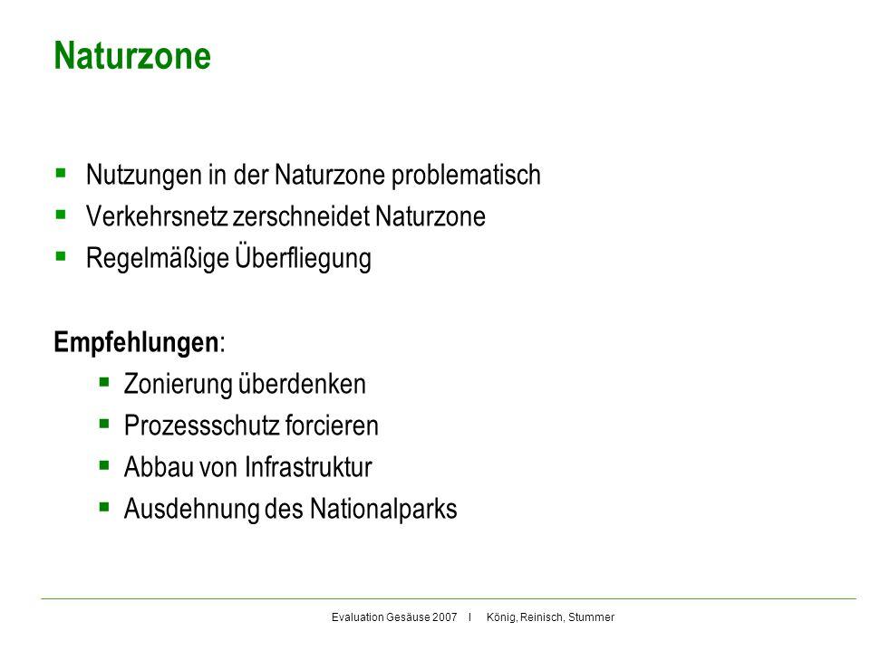 Evaluation Gesäuse 2007 I König, Reinisch, Stummer Naturzone Nutzungen in der Naturzone problematisch Verkehrsnetz zerschneidet Naturzone Regelmäßige