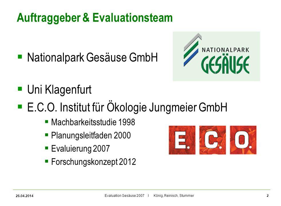 Evaluation Gesäuse 2007 I König, Reinisch, Stummer Auftraggeber & Evaluationsteam Nationalpark Gesäuse GmbH Uni Klagenfurt E.C.O. Institut für Ökologi