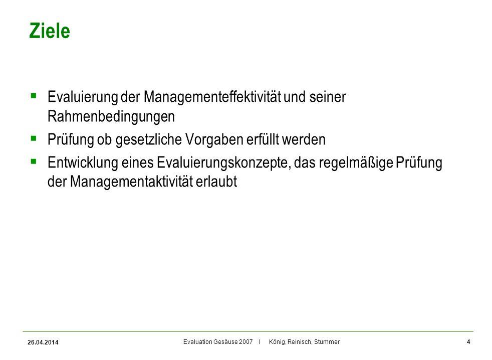 Evaluation Gesäuse 2007 I König, Reinisch, Stummer Ziele Evaluierung der Managementeffektivität und seiner Rahmenbedingungen Prüfung ob gesetzliche Vo