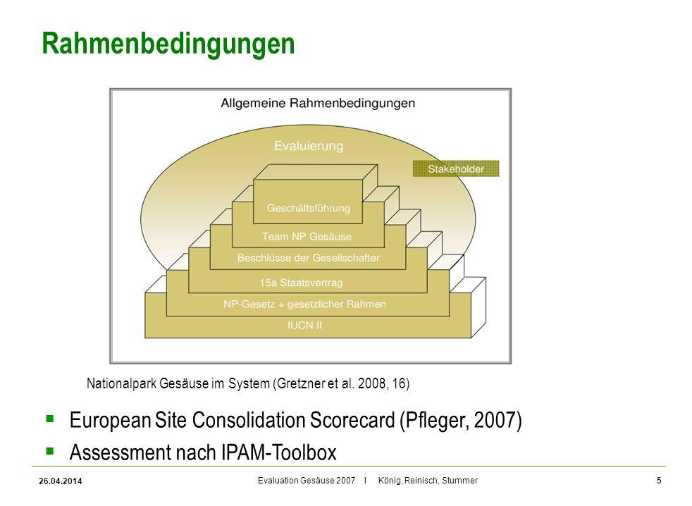 Evaluation Gesäuse 2007 I König, Reinisch, Stummer Rahmenbedingungen 26.04.2014 5 Nationalpark Gesäuse im System (Gretzner et al. 2008, 16) European S