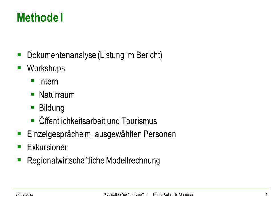 Evaluation Gesäuse 2007 I König, Reinisch, Stummer Methode I Dokumentenanalyse (Listung im Bericht) Workshops Intern Naturraum Bildung Öffentlichkeits