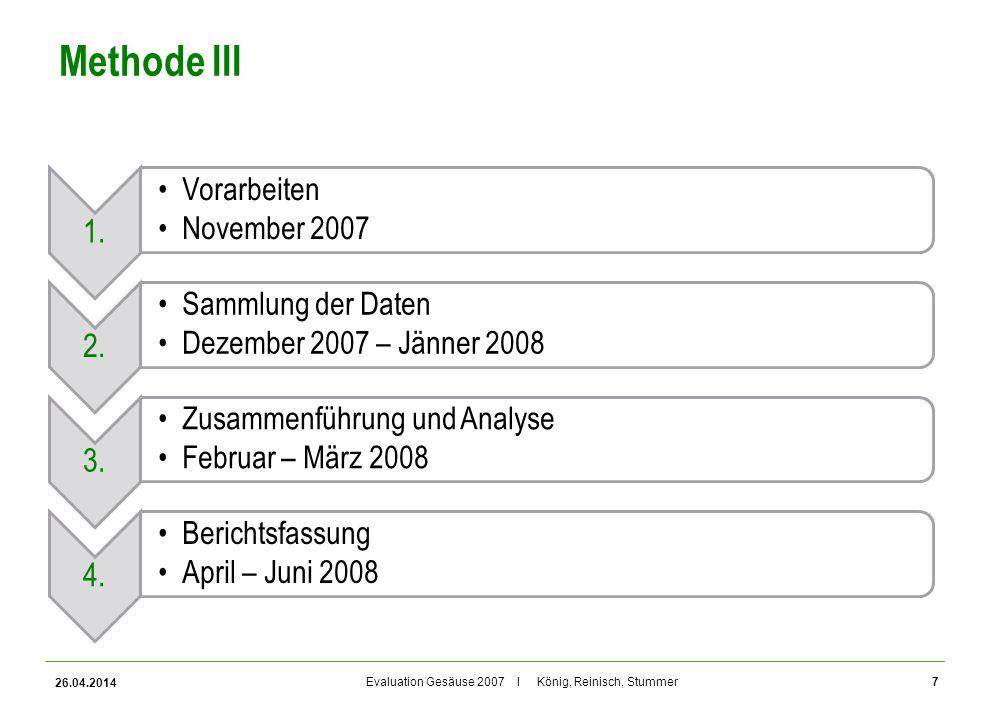 Evaluation Gesäuse 2007 I König, Reinisch, Stummer Methode III 1. Vorarbeiten November 2007 2. Sammlung der Daten Dezember 2007 – Jänner 2008 3. Zusam