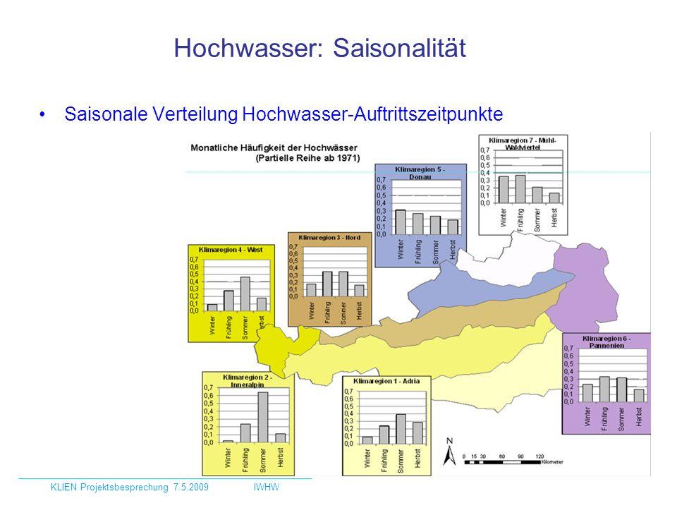 Häufigste Wetterlagen bei Hochwasser Anzahl Ereignisse bei WL / Gesamtanzahl Ereignisse Mittelwerte für Klimaregionen und Österreich KLIEN Projektsbesprechung 7.5.2009IWHW