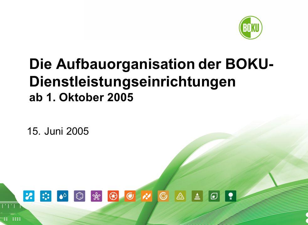 Die Aufbauorganisation der BOKU- Dienstleistungseinrichtungen ab 1. Oktober 2005 15. Juni 2005